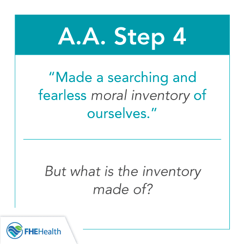 AA Step 4 - Inventory of Character Defects